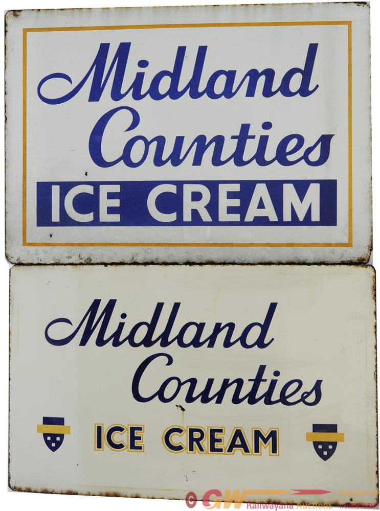 Advertising Enamels A Pair 'Midland Counties Ice