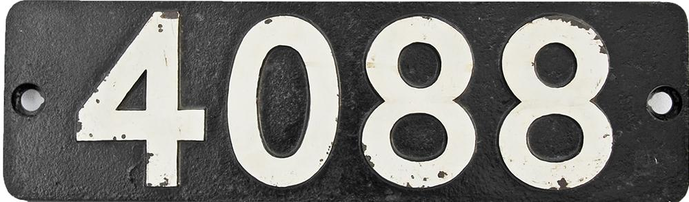 Smokebox Numberplate 4088. Ex GWR Castle Class
