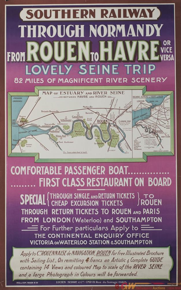 Poster Semi Pictorial SR SOUTHERN RAILWAY THROUGH