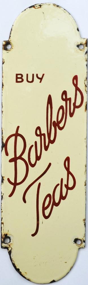 Enamel Advertising Fingerplate 'Buy Barbers Teas'