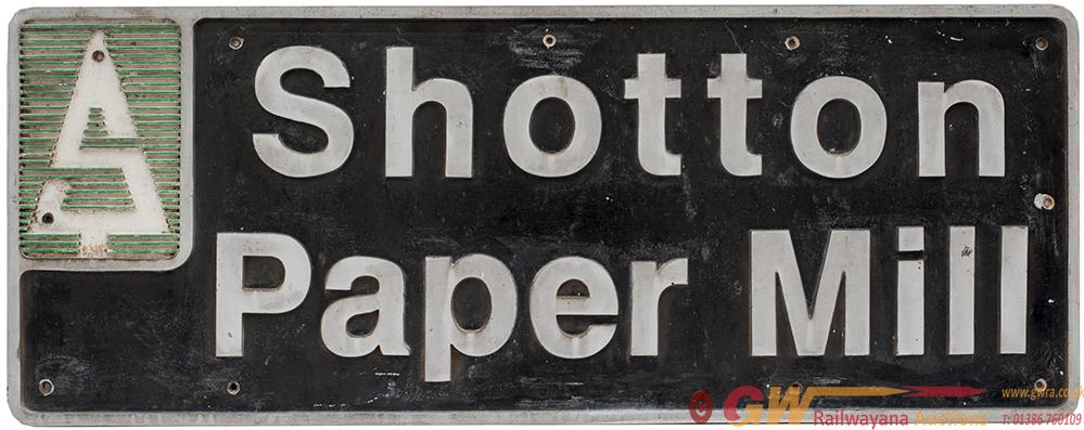 Nameplate SHOTTON PAPER MILL Ex British Railways