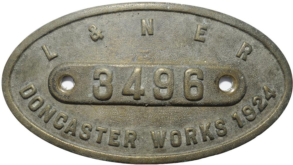 LNER 9 X 5 Works Numberplate 'LNER 3496 Doncaster