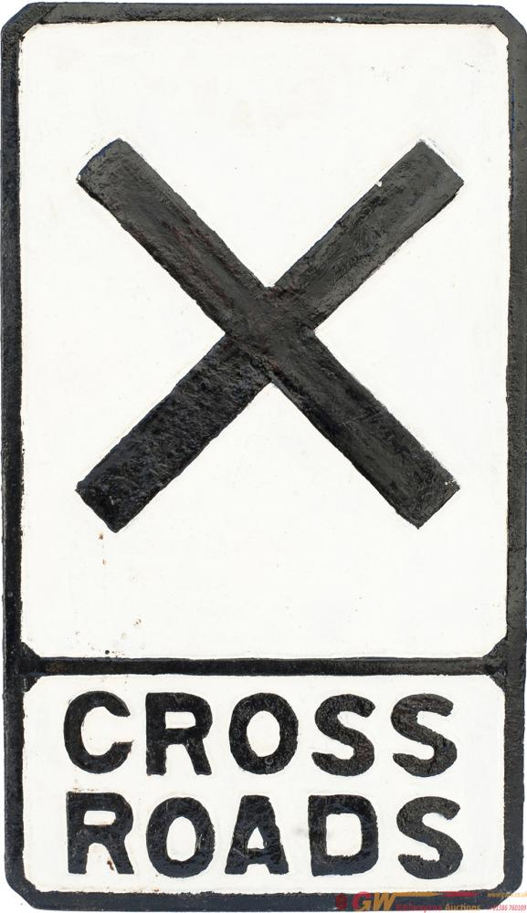 Cast Iron Road Sign CROSSROADS. Face Restored And