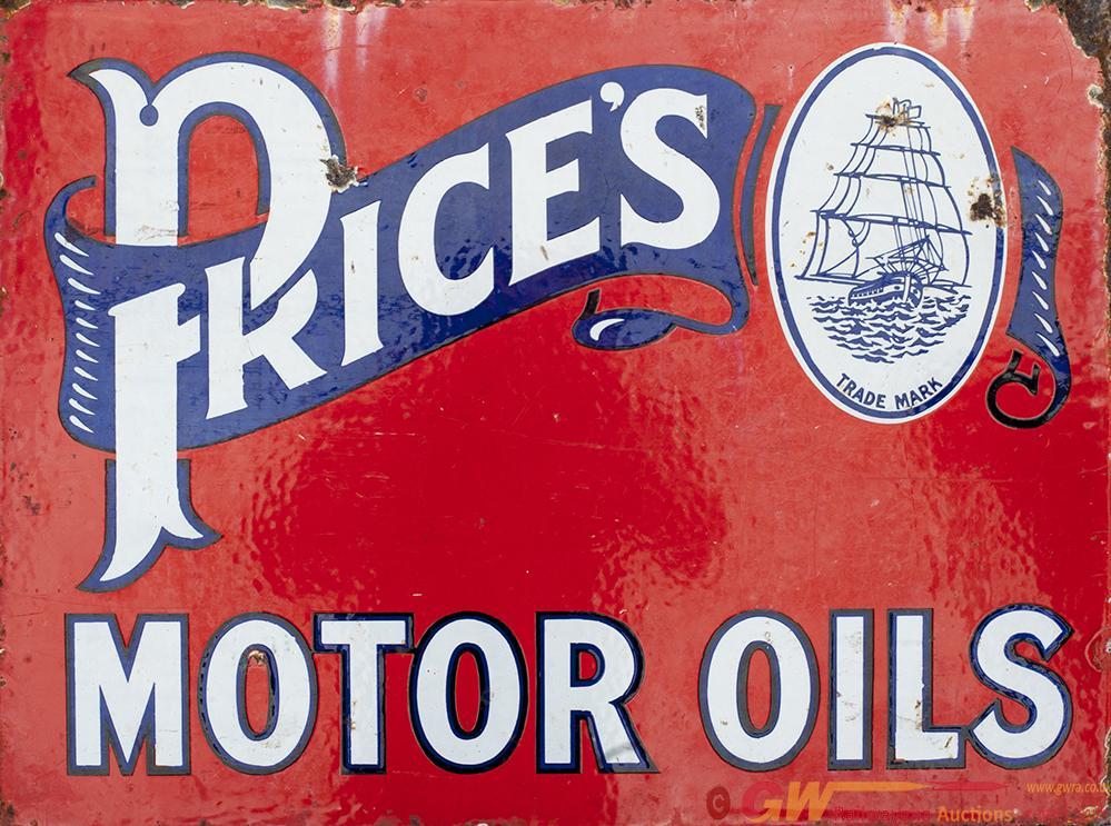 Motoring Enamel Advertising Sign PRICE'S MOTOR