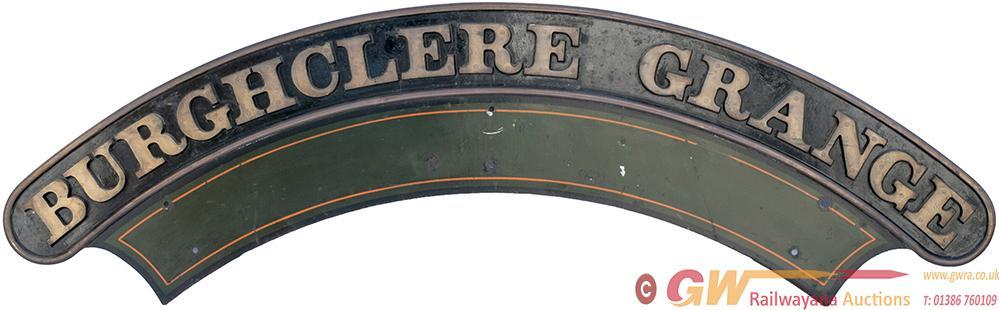 Nameplate BURGHCLERE GRANGE. Ex GWR Collet 4-6-0