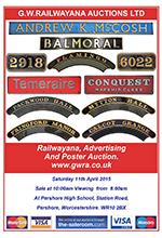 Railwayana Auction April 2015