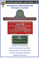 Railwayana Auction November 2008