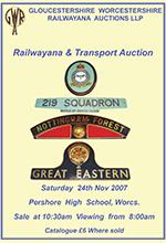 Railwayana Auction November 2007