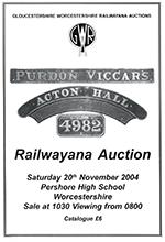 Railwayana Auction November 2004