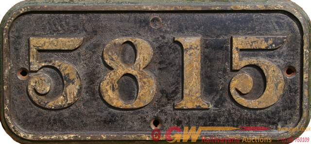 GWR C/I Cabside Numberplate 5815. Ex 0-4-2t Class