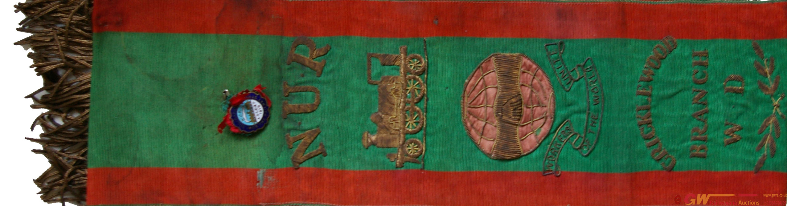 N.U.R. Railwayman's Sash In Green, Woven Textile