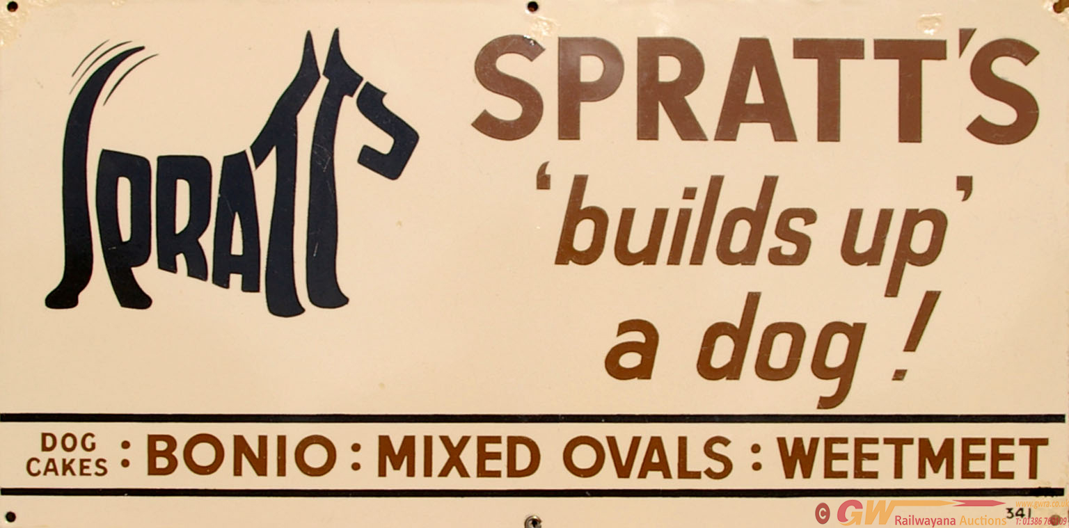 Enamel Advertising Sign 'Spratts Builds Up A Dog'
