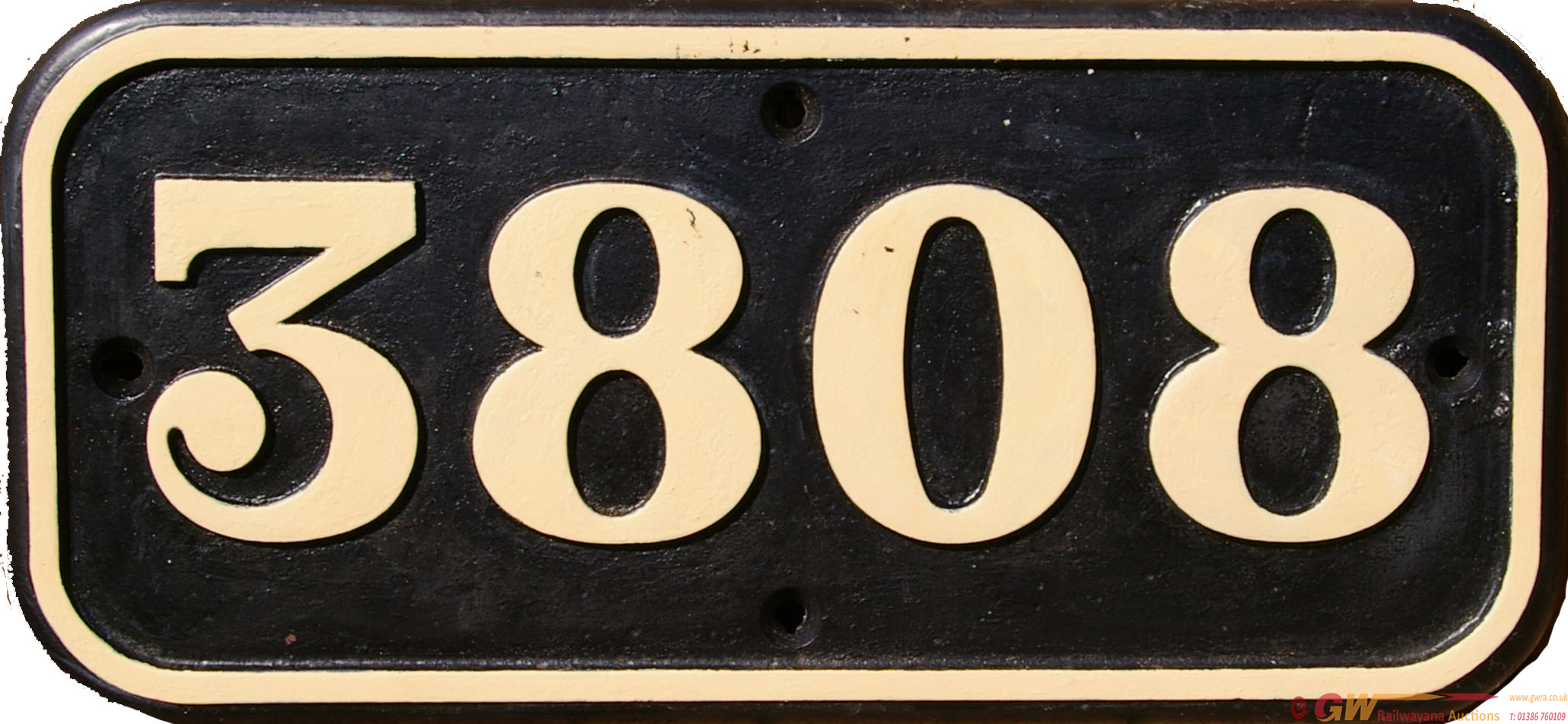 Cabside Numberplate 3808, Cast Iron Construction.