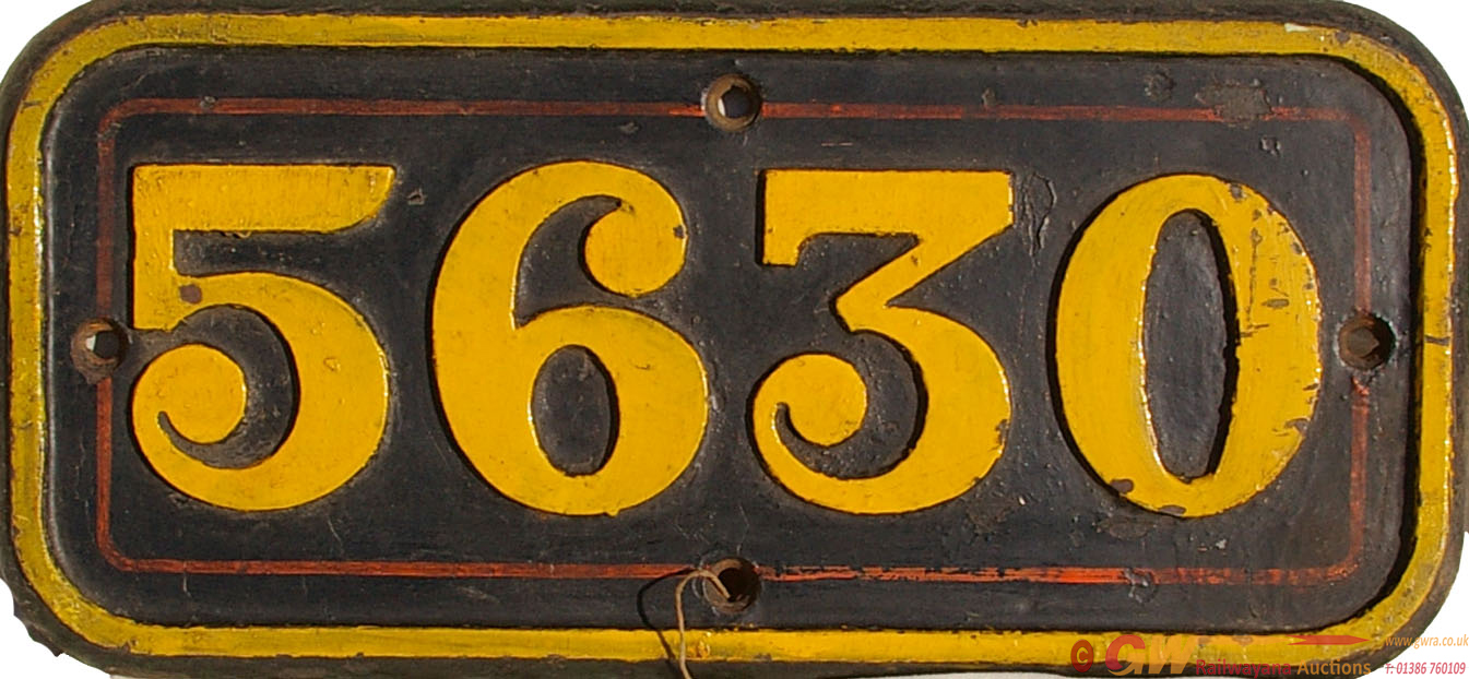 Cabside Numberplate 5630, C/I Construction. Ex GWR