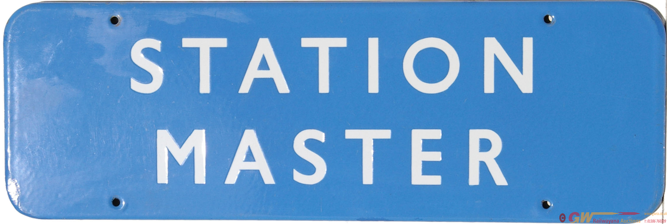 Doorplate, BR(Sc) STATION MASTER, F/F Light Blue