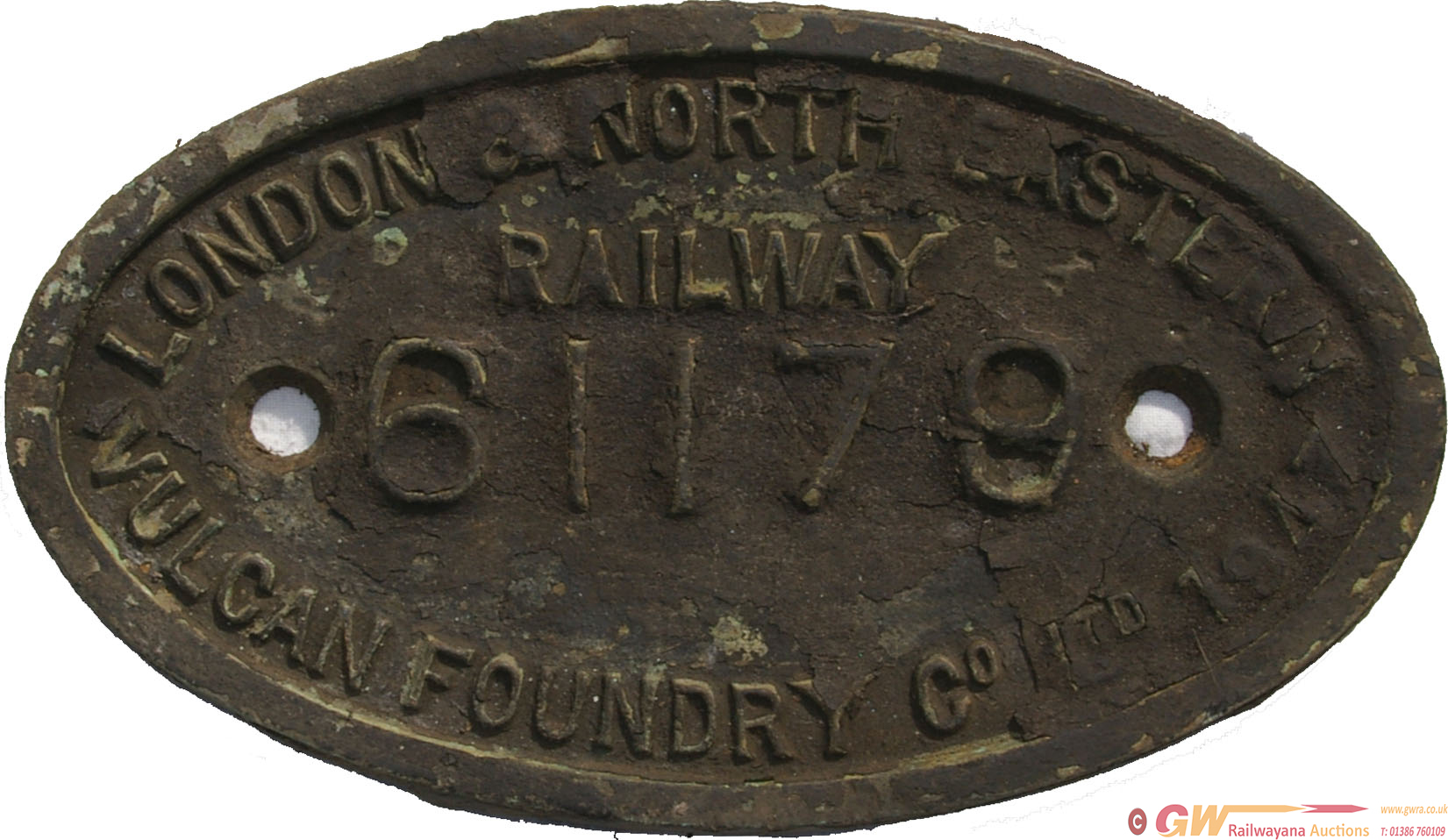 LNER 9X5 Brass Works Numberplate No 61179 Of 1947