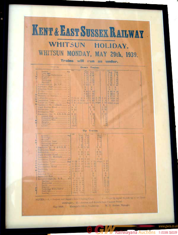 Kent & East Sussex Railway, Small Timetable Poster