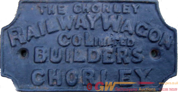 Wagon Plate, The Chorley Railway Wagon Co Ltd,