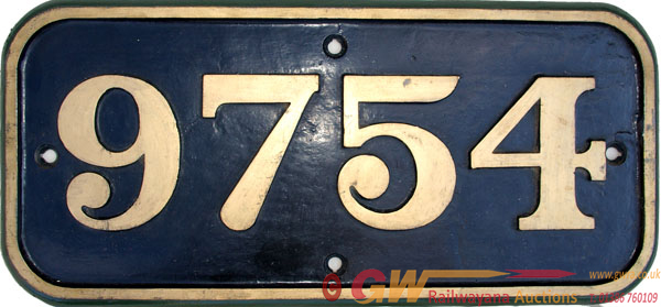Cabside Numberplate 9754 C/I Construction. Ex GWR