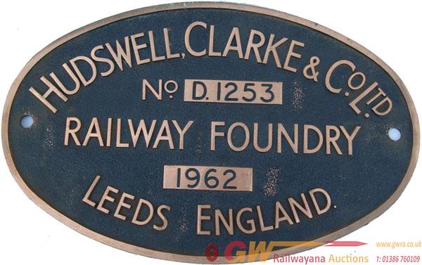 Worksplate Hudswell Clarke & Co Ltd No d1253