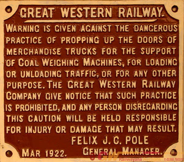 GWR C/I Propping Of Wagon Doors Sign Showing The