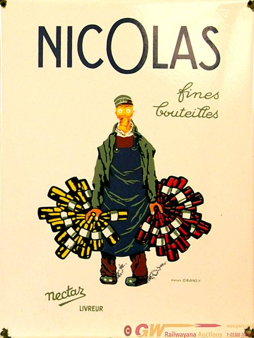 Enamel Advertising Sign, Nicolas Fines Bouteilles.