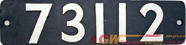 Smokebox Numberplate 73112. Ex British Railways