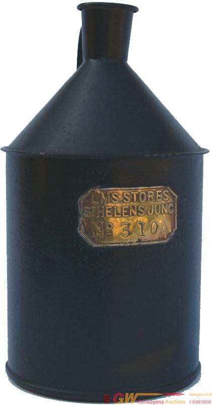 A LMS Small Cylindrical Tinplate Oil Container