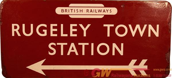 BR(M) Enamel Station Direction Sign RUGELEY TOWN
