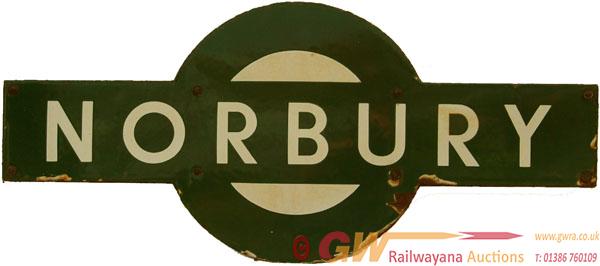 Southern Railway Enamel Target NORBURY. Ex LBSCR