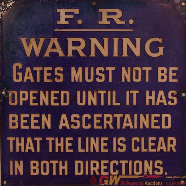 Furness Railway Enamel Warning Sign ' Gates Must