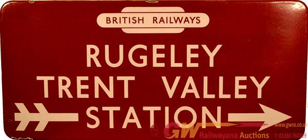 BR(M) Enamel Station Direction Sign RUGELEY TRENT