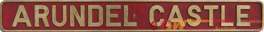 Nameplate ARUNDEL CASTLE, Ex Manchester Ship Canal