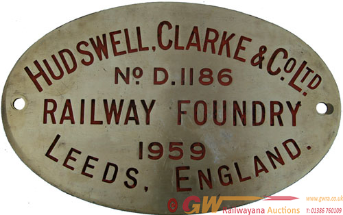 Worksplate Hudswell Clarke & Co Ltd No d1186