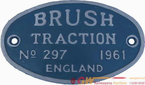 Worksplate Brush Traction England Number 297 Dated