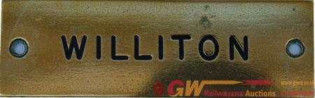 GWR Brass Signal Box Shelf Plate WILLITON. Ex GWR