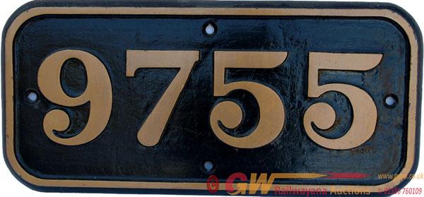 Cabside Numberplate 9755. Ex GWR 0-6-0 Pannier