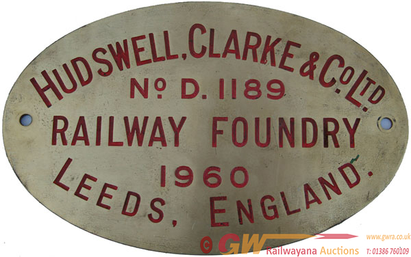 Worksplate Hudswell Clarke & Co Ltd No d1189