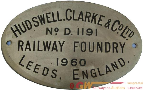 Worksplate Hudswell Clarke & Co Ltd No d1191