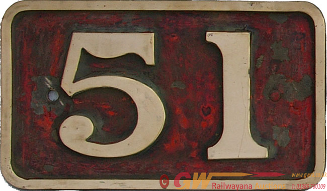 Cabside Numberplate 51, Ex Manchester Ship Canal
