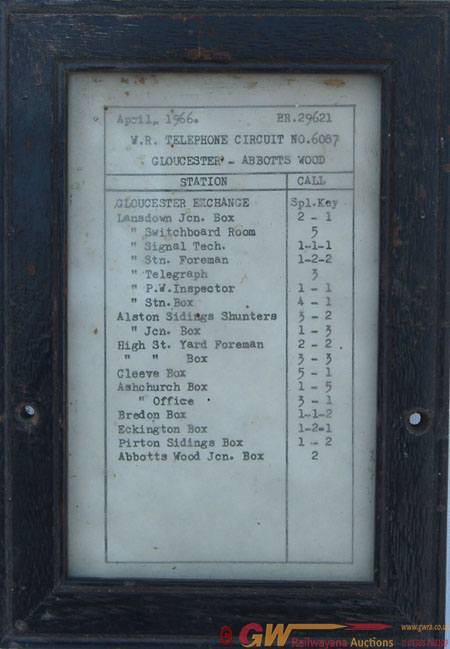 Gwr Stamped Wooden Telephone Circuit Frame