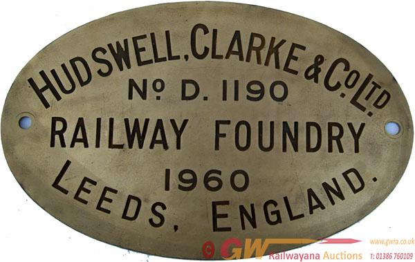 Worksplate Hudswell Clarke & Co Ltd No d1190