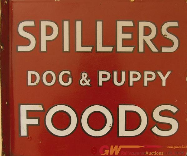 Enamel Advertising Sign, 'Spillers Dog & Puppy