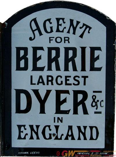 Enamel Advertising Sign,  Berrie Dyer Agency.