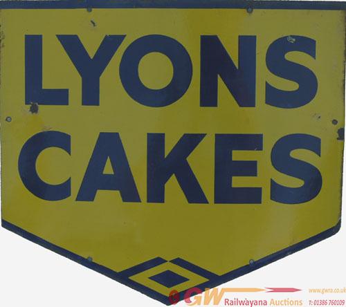 Enamel Advertising Sign, Lyons Cakes. Measures 18