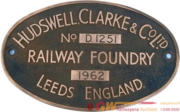 Worksplate Hudswell Clarke & Co Ltd No d1251