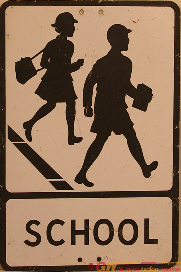 Road Sign SCHOOL Depicting Two Children. Pressed