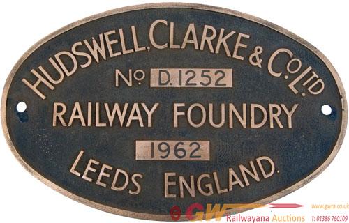 Worksplate Hudswell Clarke & Co Ltd No d1252
