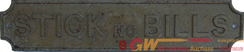 Midland Railway STICK NO BILLS, Rectangular C/I