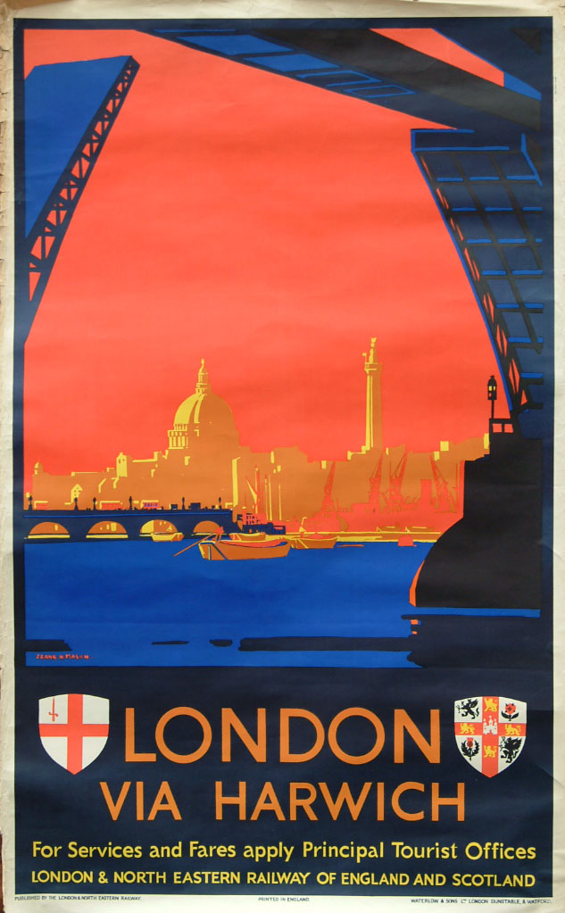 LNER Double Royal Poster LONDON Via HARWICH, By